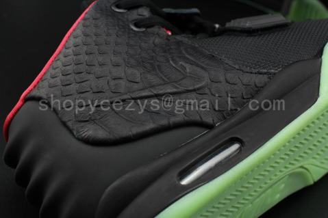 Super Perfect Air Yeezy 2 Black Solar Red Glow In Dark Flawless $680.00  $164.00