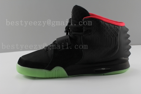 Best Air Yeezy 2 Black Solar/Red Glow In Dark Sale Super Version